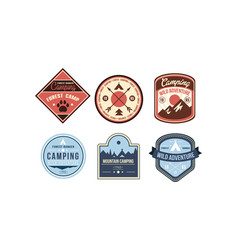 mountain camping retro logo badges set forest vector image
