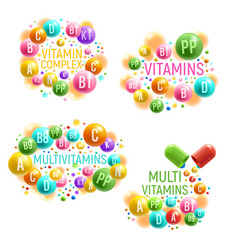 multivitamin complex with vitamins pills vector image