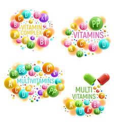 Multivitamin complex with vitamins pills vector