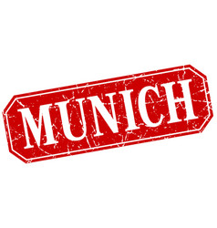 Munich red square grunge retro style sign vector