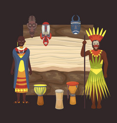 Native black skinned people african tribes and vector