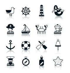 Nautical Icons Black vector image
