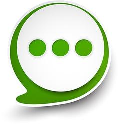 Paper white-green round speech bubble vector