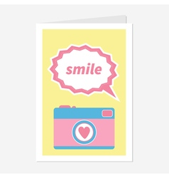 Photo Camera in flat design style Pink heart Text vector image