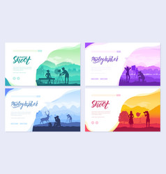 photoshoot ideas in nature brochure cards set the vector image