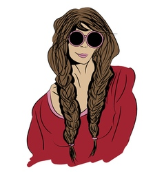 pop art portrait of a girl hippie wearing glasses vector image