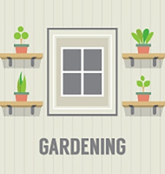 Pot Plants Beside Window Gardening Concept vector