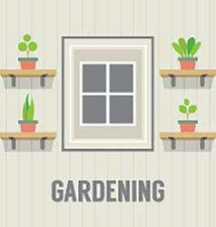 Pot Plants Beside Window Gardening Concept vector