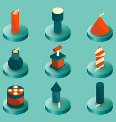 pyrotechnics color isometric icons vector image