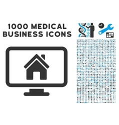 Realty Monitoring Icon with 1000 Medical Business vector