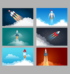 rocket launch starting set vector image
