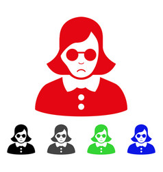 sad blind woman icon vector image
