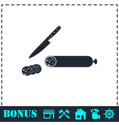 Sausage icon flat vector