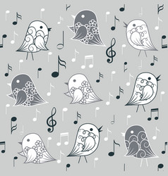 seamless pattern with birds and musical elements vector image