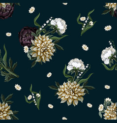 Seamless pattern with dahlia and peony in vintage vector