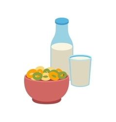 Semolina porridge cornflakes and milk vector image