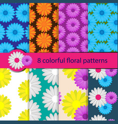 set colorful floral patterns vector image