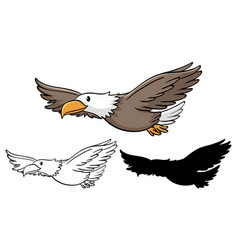Set eagle cartoon vector