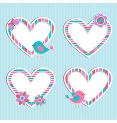 Set of cute frames hearts vector