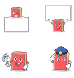 Set of red book character with board megaphone vector
