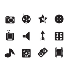 Silhouette Entertainment Icons vector image