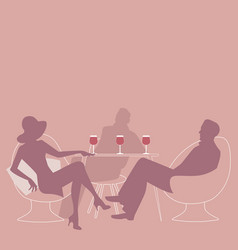 silhouettes of group of three drinking red wine vector image
