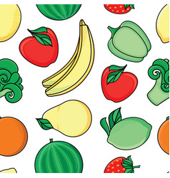 sketch fresh fruits vegetables pattern vector image