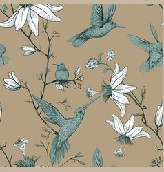sketch pattern with birds and flowers vector image