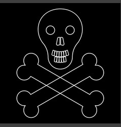Skull and bones the white path icon vector