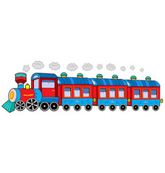 Steam locomotive with wagons vector