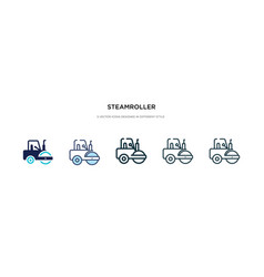 Steamroller icon in different style two colored vector