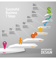 Successful business staircase infographic vector