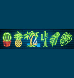 tropical neon signs cactus and pineapple plants vector image