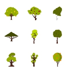Types of trees icons set flat style vector
