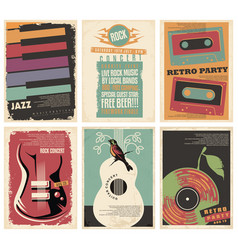 vintage collection musical posters vector image