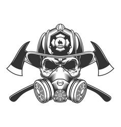 vintage monochrome firefighter skull vector image