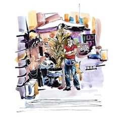 Watercolor painting street sellers of chestnuts in vector