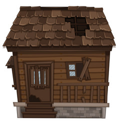 wooden house in bad condition vector image