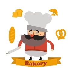 Baker and cake in format vector image