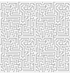 Black maze on white seamless pattern vector image vector image