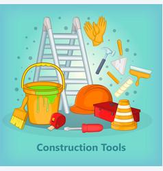 building process concept tools cartoon style vector image