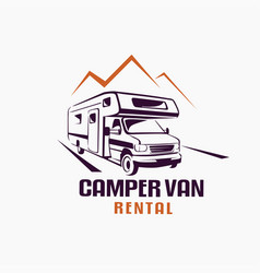 camper van outlined sketch emblem and label vector image vector image
