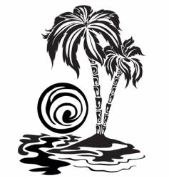 palm trees in the sea vector image
