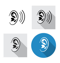 Set of ear icon side view in linear style vector