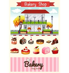 Bakery shop and desserts vector image vector image