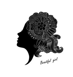 beautiful girl face with ornate vector image