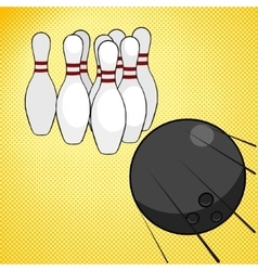 Bowling game pop art style vector image vector image