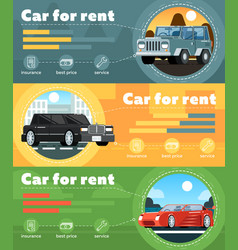 car for rent banner set in flat design vector image vector image