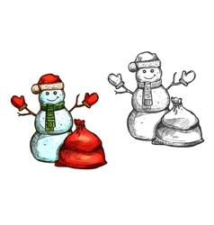 Christmas snowman Santa gift sack sketch vector image vector image