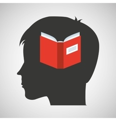 silhouette head boy student knowledge vector image vector image